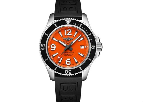 The orange-black color-matching makes the Breitling very eye-catching.
