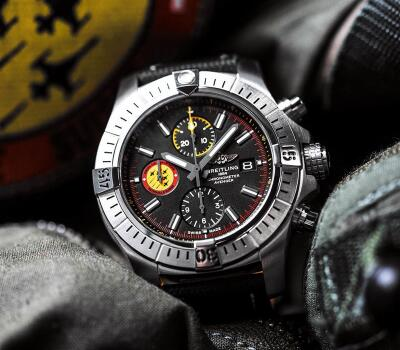 The yellow and red sub-dial at 9 o'clock is striking and eye-catching.