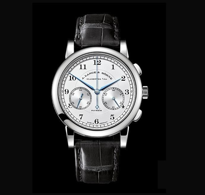 The 18k white gold fake watch has Arabic numerals.