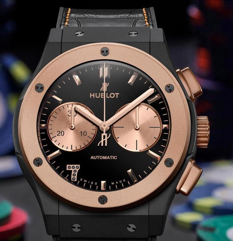 Valuable replica watches adopt the brilliant king gold material.