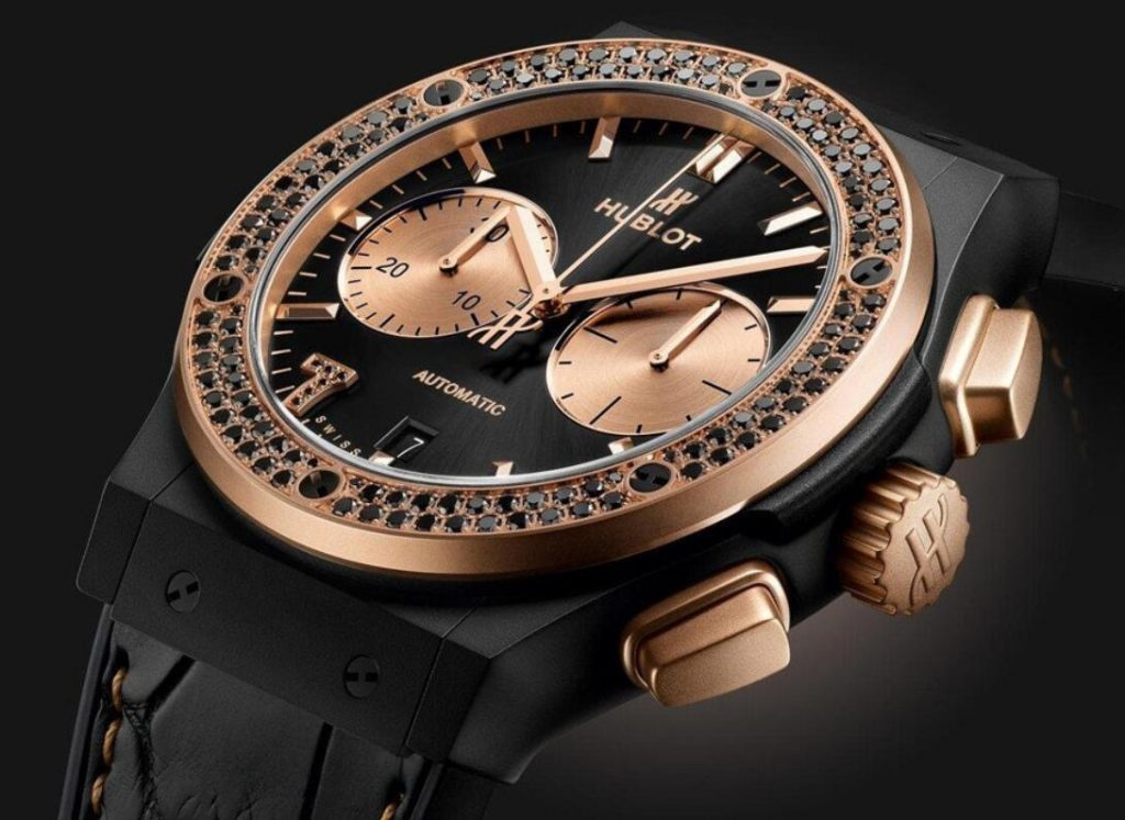 The black color skillfully assures the classic feeling for the fake watches online.